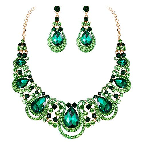 BriLove Costume Fashion Jewelry Set for Women Crystal Teardrop Hollow Scroll Statement Necklace Dangle Earrings Set Emerald Color Gold-Toned ()