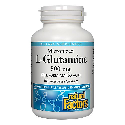 Natural Factors - Micronized L-Glutamine 500mg, Support for Muscle Tissue & Immune System, 180 Vegetarian Capsules
