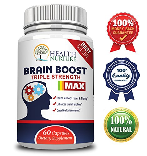 HEALTH NURTURE BRAIN BOOST MAXIMUM STRENGTH - Best Brain Supplement - Nootropics Brain Booster, Memory Support,Vitamins for Brain Health, Best Mind Supplements, Focus,Clarity & Cognitive Function -