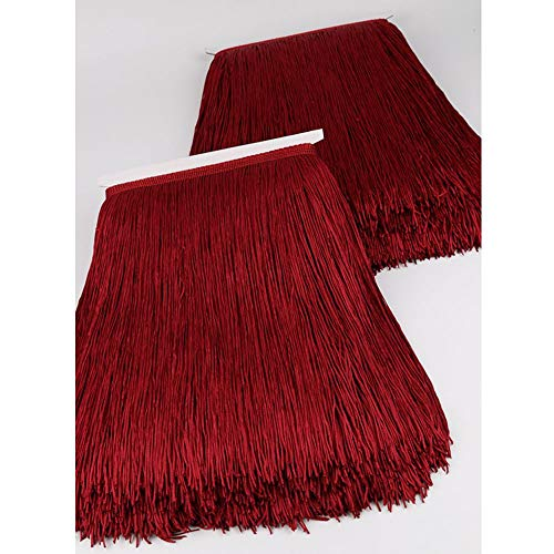 Heartwish268 Fringe Trim Lace Polyerter Fibre Tassel 12inch(″) Wide 10 Yards Long for Clothes Accessories and Latin Wedding Dress and DIY Lamp Shade Decoration Black Wine Red