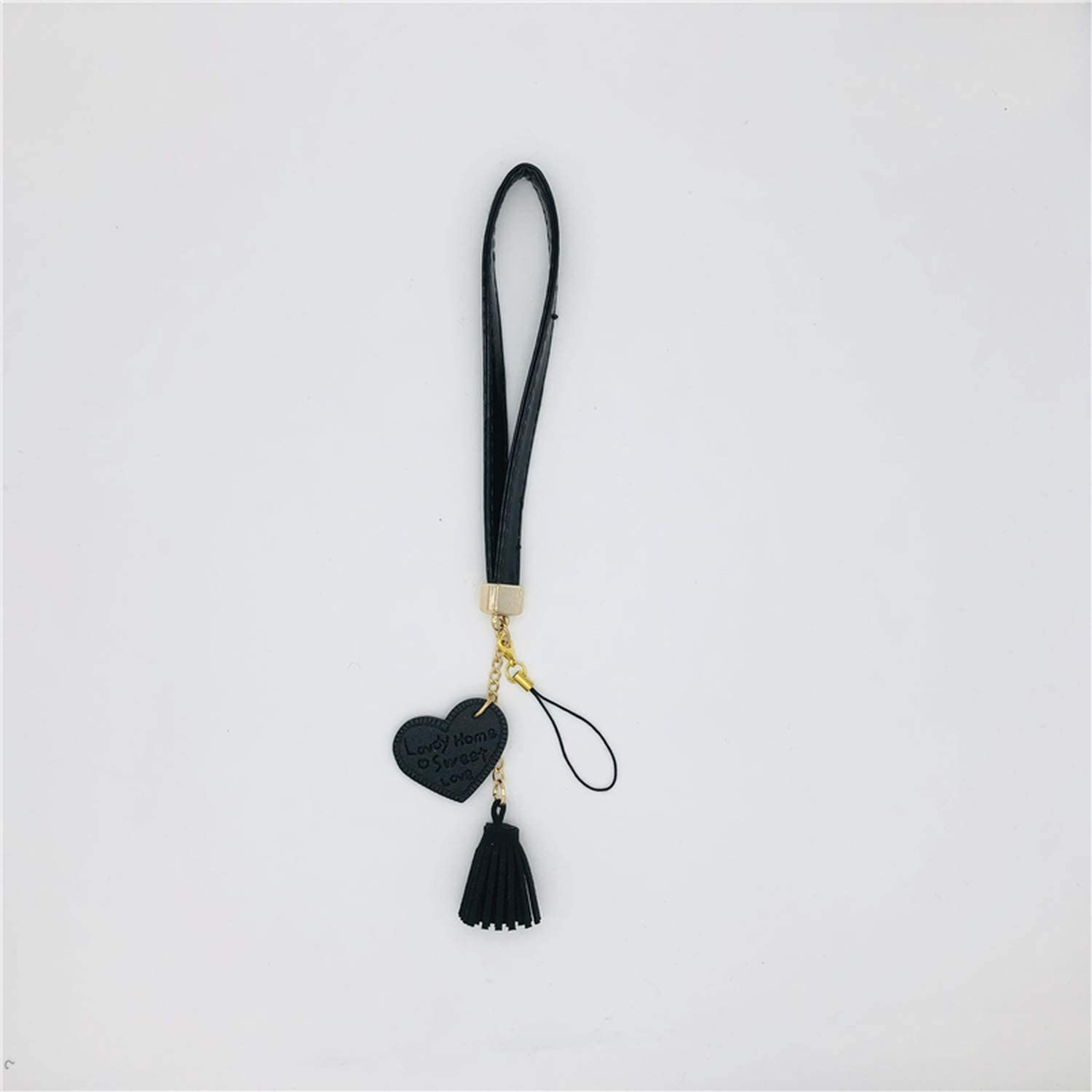 Tassel Pop Lanyard Mobile Phone Pendant Pu Leather Love Camera Strap for Decor Keys Accessories,White