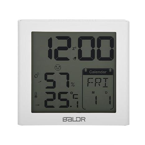 Zerodis Despertador Digital, Reloj Digital LCD Retroiluminación Digital Termómetro Humedad Higrómetro Despertador Calendario Temporizador(