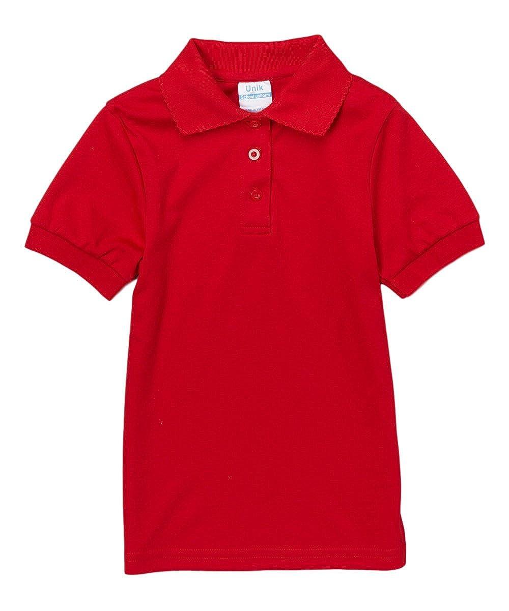 unik Girls Uniform Polo Shirt Short Sleeve White Navy Sky Blue Red Green Pink