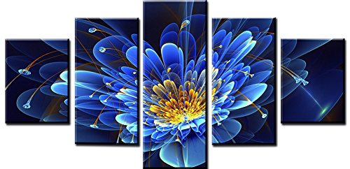 Wowdecor Canvas Prints 5 Pieces Multiple Pictures Wall Art - 5 Panels Bright Blue Flower Giclee Pictures Painting Printed on Canvas, Posters Wall Decor Gift - UNFRAMED (Large)