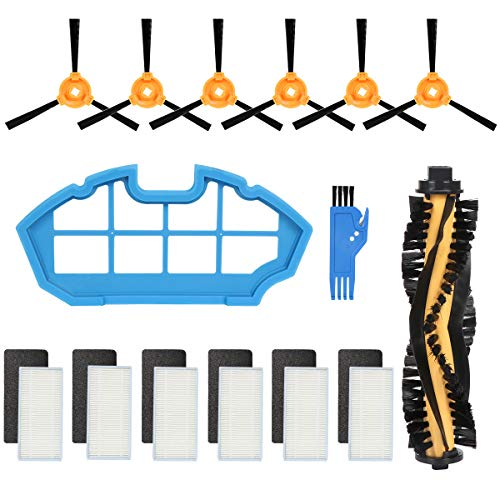 - ECOVACS Accessory Kit for DEEBOT N79S & N79 Robotic Vacuum Cleaner - 1 Main Brush + 6 Filters + 6 Side Brushes (Yello)