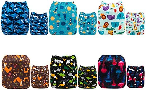3 Pack 6 Bamboo Terry Inserts Adjustable Cloth Pocket Diaper Boy Girl Baby