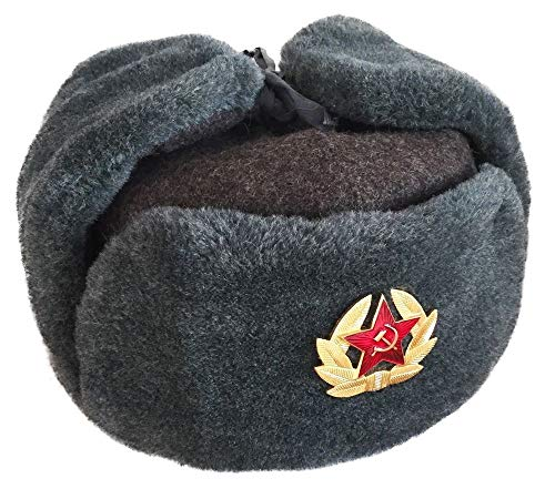 (Authentic Russian Army Ushanka Winter Hat, with Soviet Army soldier insignia (58))