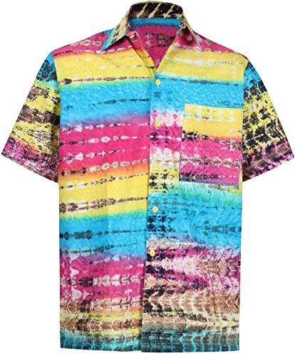 Silk Fabric Batik (LA LEELA Cotton Beach Pocket Shirt Yellow 578 XL   Chest 48
