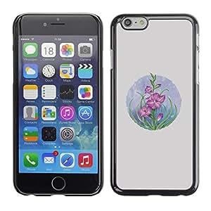 FECELL CITY // Duro Aluminio Pegatina PC Caso decorativo Funda Carcasa de Protección para Apple Iphone 6 Plus 5.5 // Card Flowers Pastel Drawing