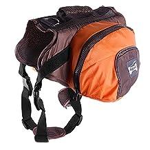 Pettom Dog Backpack Adjustable Saddlebag Style Rucksack with Harness for Pet Travel Hiking Camping Training(Orange, S)