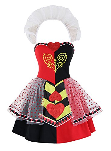 Ecilu Women's Queen Of Hearts Halloween Costume Red (Queen Of Hearts Costume Halloween)