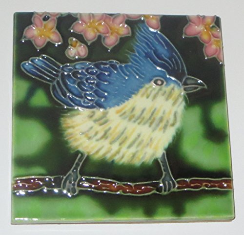 Continental Art Bluejay Bird Art Tile Ceramic 4 Inch by 4 Inch Pink Flowers Green Background SD-181