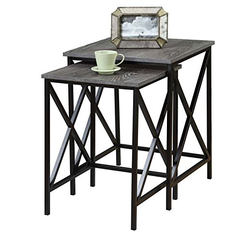 Pemberly Row 2 Piece Nesting End Table Set in Gray by Pemberly Row