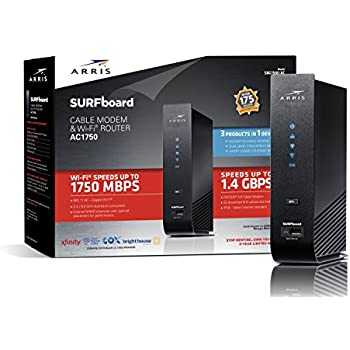 ARRIS SURFboard SBG7580AC Docsis 3.0 Cable Modem/ Wi-Fi AC1750 Router - Retail Packaging - Black