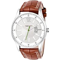 Timesmith Mens Stylish White Dial Brown Leather Strap Day Date Watch for Mens & Boys, Great Gift for Father's Day…
