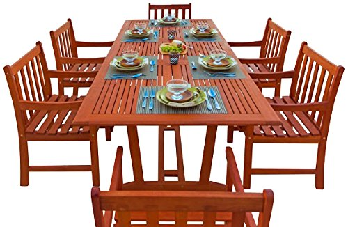 Malibu V232SET9 Eco-Friendly 7 Piece Wood Outdoor Dining Set with Rectangular Extension Table and Slatted Back Armchairs