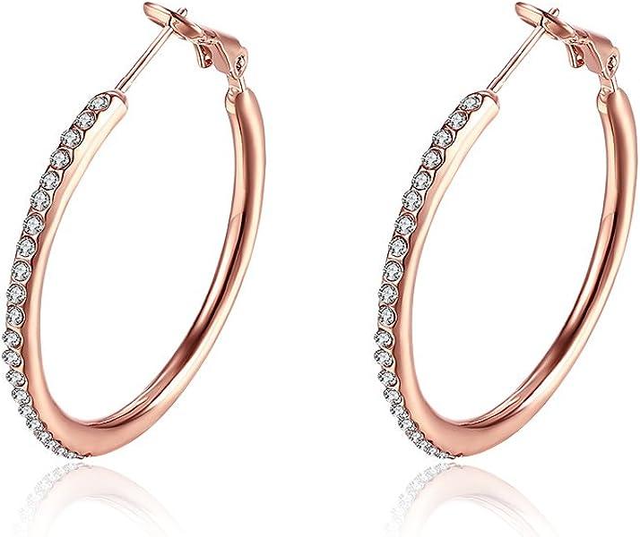 e85c3fc929c8 Fajewellery Mujer Hoop Rose Gold Plated Canal Conjunto Cubic Zirconia  Crystal Pendientes Diámetro 20mm