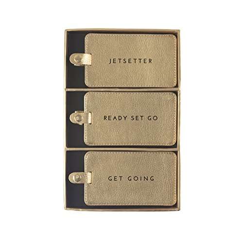 Eccolo World Traveler Luggage Tags, Set of 3 (Gold - Jetsetter)