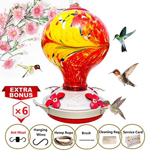 ShinyArt Hummingbird Feeder - Hand Blown Glass - Red - 38 Fluid Ounces Nectar Capacity Include Ant Moat, Metal Hook, Hemp Rope, Brush, Cleaning Rag and Service Card ()