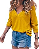 BLINGLAND Womens Loose V-Neck Pullover T Shirt Knit Tops (Large, Yellow)