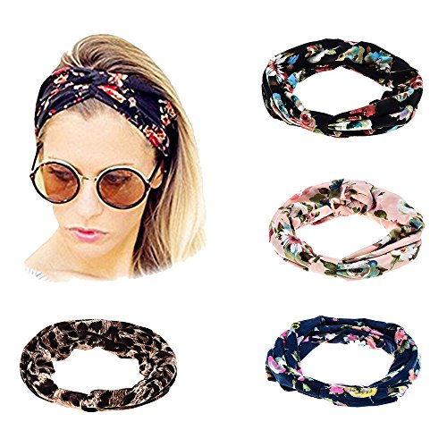 (Ever Fairy Women Elastic Turban Head Wrap Headband Twisted Hair Band (4 Color Pack H))