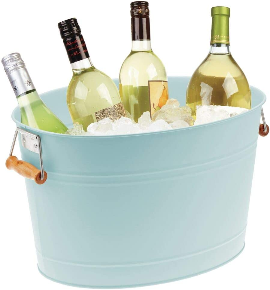 mDesign Metal Beverage Tub & Soda Pop, Beer, Wine, Ice Holder - Portable Party Drink Chiller - 18 Liter Container - Rustic Vintage Farmhouse Oval Storage Bucket Bin - Mint/Natural Bamboo Wood Handles