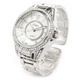 Silver Tone Crystal Bezel Iced Out Ladies Quartz Wrist Watch Stainless Steel, Fashion Luxury Dress Bangle Cuff Watches for Women
