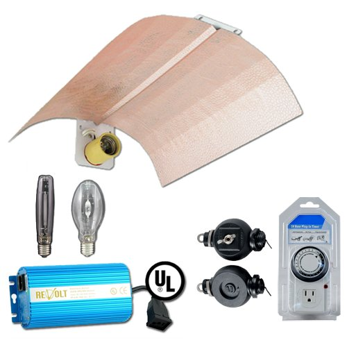"Grow Light Kit, Horizon Flash Wing Reflector (18"" x 18""), 250w MH Bulb, 250w HPS Bulb, 250w Digital Ballast, Light Hangers, Analog Timer"