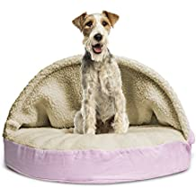 """FurHaven Round Snuggery Burrow Pet Bed, Pink, 35"""""""
