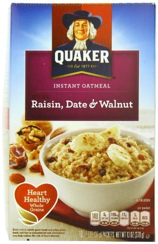 Quaker Instant Oatmeal Raisin, Date & Walnut, 10-Count Boxes (Pack of 4) by Quaker Oatmeal [Foods] Quaker Raisins