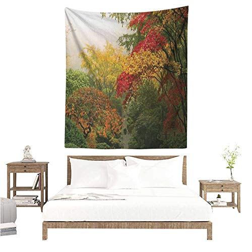 (Agoza Garden Tapestry for Living Room Maple Trees in The Fall at Portland Japanese Garden One Foggy Morning Scenery Living Room Background Decorative Painting 70W x 84L INCH Red Yellow Green)