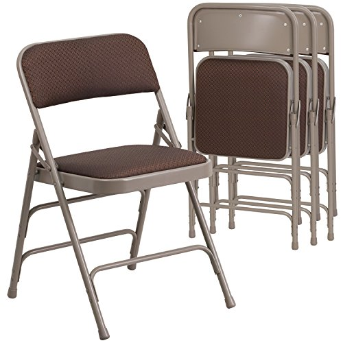 Flash Furniture 4 Pk. HERCULES Series Curved Triple Braced & Double Hinged Brown Patterned Fabric Metal Folding Chair by Flash Furniture