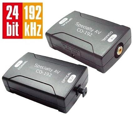 Digital Coax Coaxial S/PDIF to Optical TOSlink Audio Converter HD 24bit/192KHz,