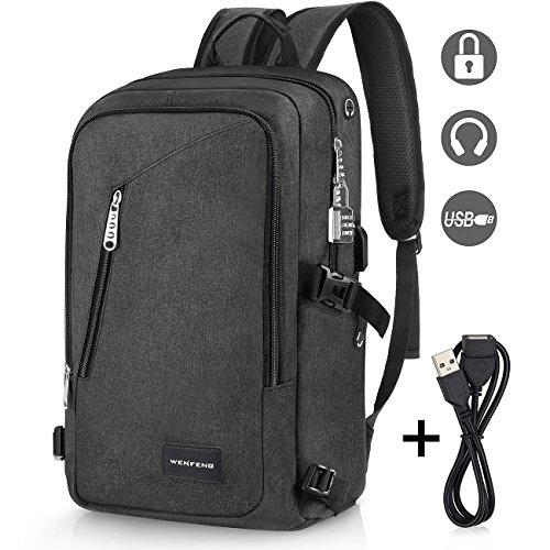 Laptop Backpack, WENFENG Business Computer Backpack with USB Charging Cable and Lock, Water Resistant Polyester Anti-theft School Bag Fits Under 17 Inch Laptop