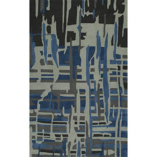 Price comparison product image Addison Rugs Zenith Artistic Abstract Grey / Blue Wool-Blend Area Rug (8'0 x 10'0)
