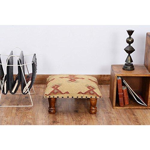 Indo Handmade Kilim Upholstered Footstool, NF35 by Herat Oriental