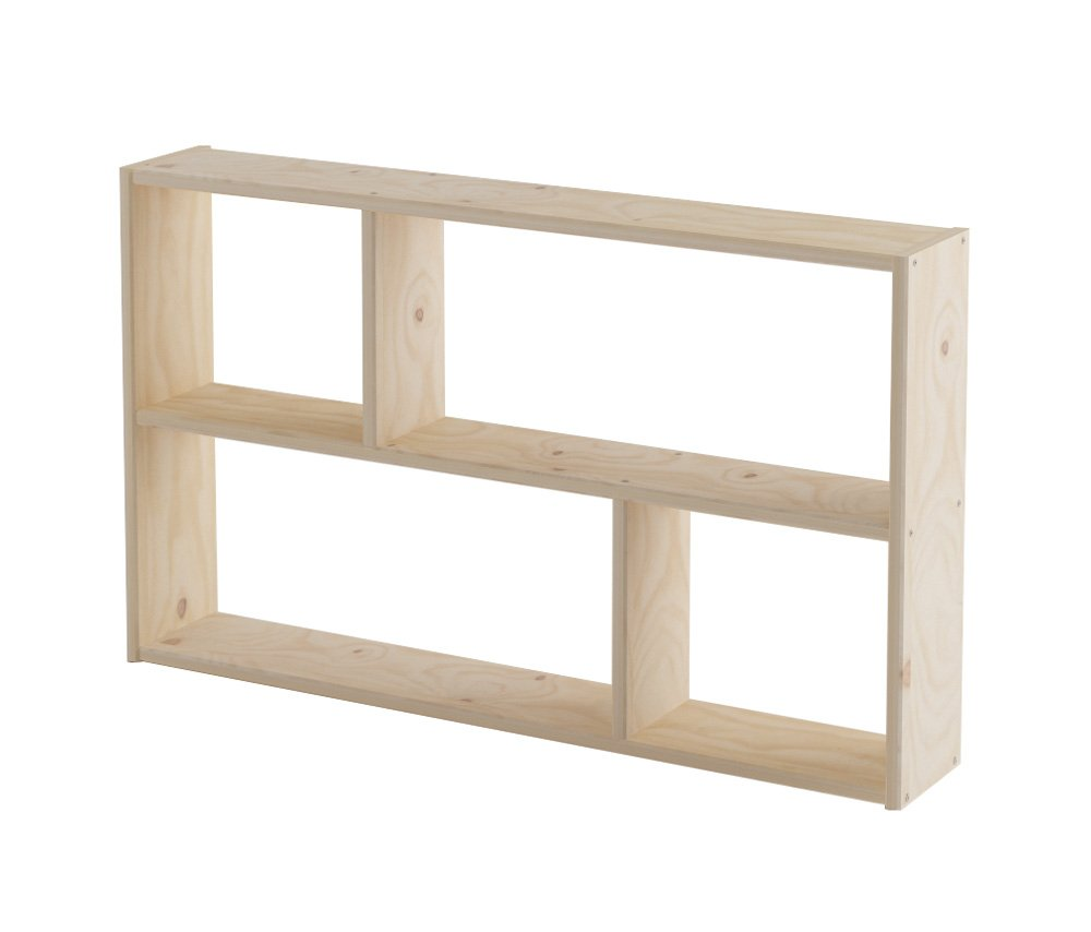 Lufe Asymmetrical Shelf, Pine, brown, 21 x 124 x 74 cm