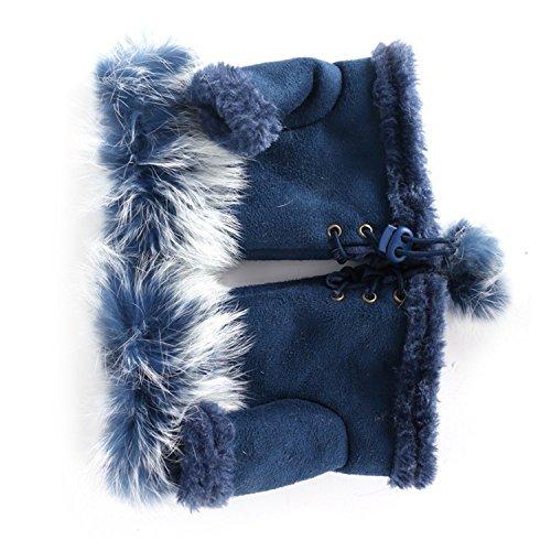 Better Annie Rabbit Fur Leather Lady Fingerless Suede Mitten