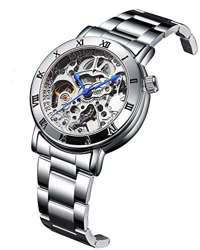 GuTe Women Automatic Watch,Minimalist Steampunk Silver Tone Self-Winding Stainless Steel Bracelet Watch