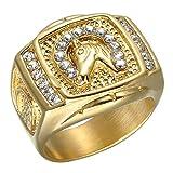 Dixinla Rings Steel , European Fashion Punk Rock Style Diamond Horse Head Men's Titanium Steel Ring Jewelry Gift for Family or Friends