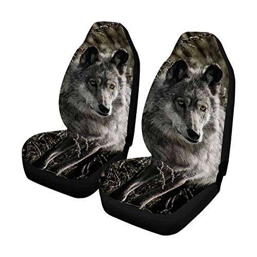 Wolf Car Mats - INTERESTPRINT Custom Cool Wolf Car Seat Covers for Front of 2,Vehicle Seat Protector Fit Most Car,Truck,SUV,Van