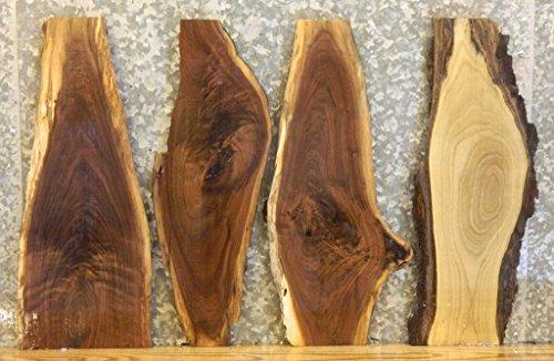 4- Black Walnut Natural Edge Rustic Taxidermy Base Wood Slabs T: 1 3/16'', W: 9 3/4'', L: 24 3/16'' - 7879-7880,7898-7899
