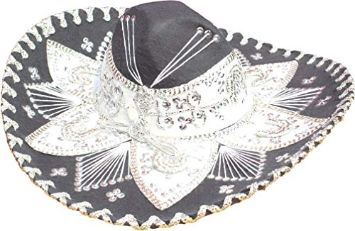 Authentic Mariachi Flowers Style Hat Fancy Premium Mexican Sombrero Charro Hats Made in Mexico (Choose Size & Color) (Youth & Women, Grey/Silver) -