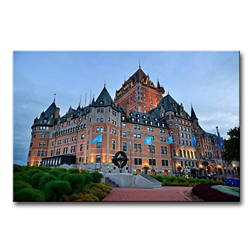 Wall Art Decor Poster Painting On Canvas Print Pictures Chateau Frontenac at Dusk in Quebec City Architecture Cityscape Framed Picture for Home Decoration Living Room Artwork