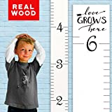 "Growth Chart Art Wooden Ruler Height Chart for Kids, Boys and Girls | Durable, Portable and Beautiful Height Measurement | White with Black Numerals - ""Love Grows Here"""