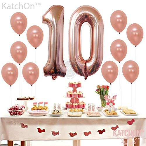 Rose Gold 10 Number Balloons Decorations Extra Latex Balloons And Foil Mylar Ballons 10th Birthday Party