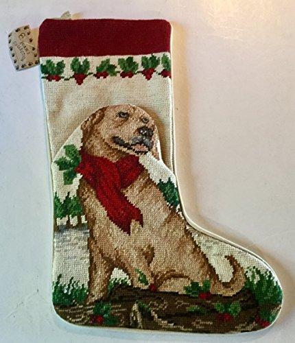 Yellow Labrador Dog Needlepoint Large Christmas Stocking 16 inch (Needlepoint Lab Yellow)