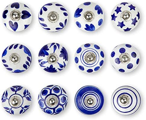 Set of 12 Colorful Multi Design Handmade Knobs Ceramic Cabinet Knobs Screw Cap /& Extra Bolts These Drawer Knobs Comes with 1 Wrench Kitchen or Office Drawer Pulls Ideal for Any Home