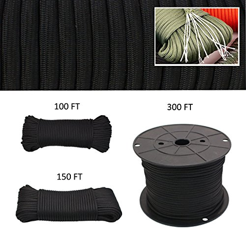 - Geelife 640lb Parachute Cord Survival Utility 9 Strands Core 4mm Commercial Grade Paracord (Black, 100 ft)