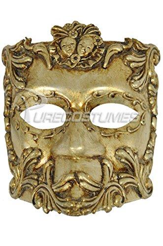 [Mememall Fashion Mardi Gras Masquerade Emperor Caesar Bauta Mask (Gold)] (Dog Costumes For Mardi Gras)